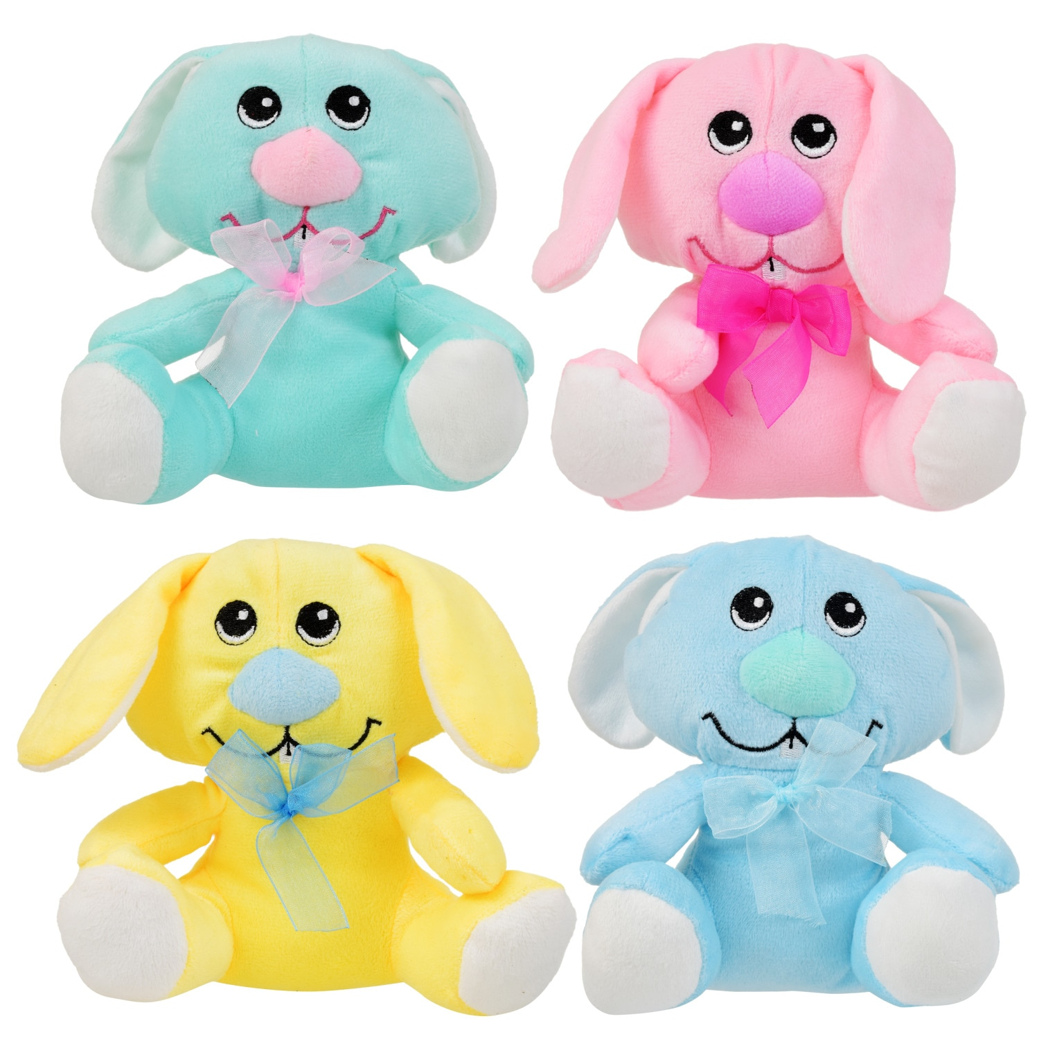 Big-Nosed Plush Bunnies in Pastel Colors, 6 in.
