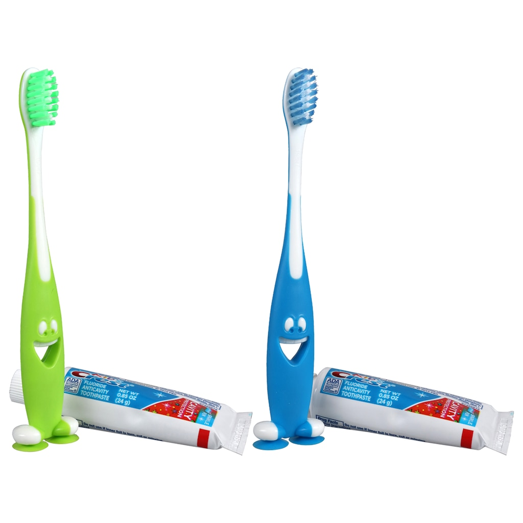 Smiley Gripper Kids Toothbrush With Crest Toothpaste