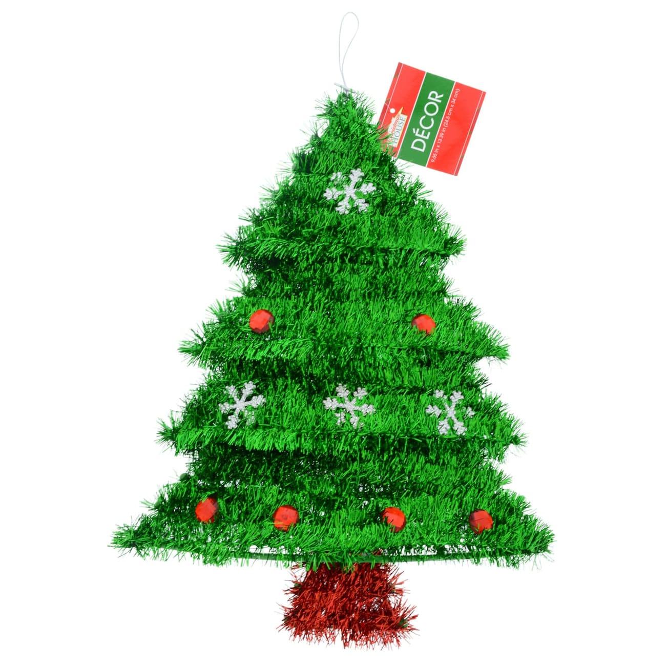 christmas house tinsel tree with ornaments - Dollar Tree Christmas Tree