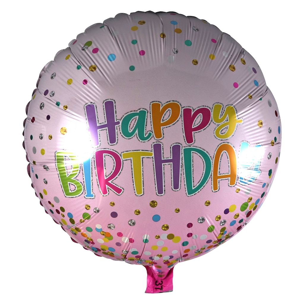 Round Happy Birthday Pink Foil Balloons With Attached Ribbons 18 In