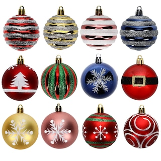 259393 christmas house 60mm round plastic ball ornaments 5 ct packs