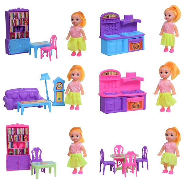 Dollartree Com Bulk Mini Dolls With Doll House Furniture Sets
