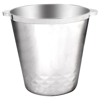 Silver Plastic Ice Buckets with Handles, 8 in.
