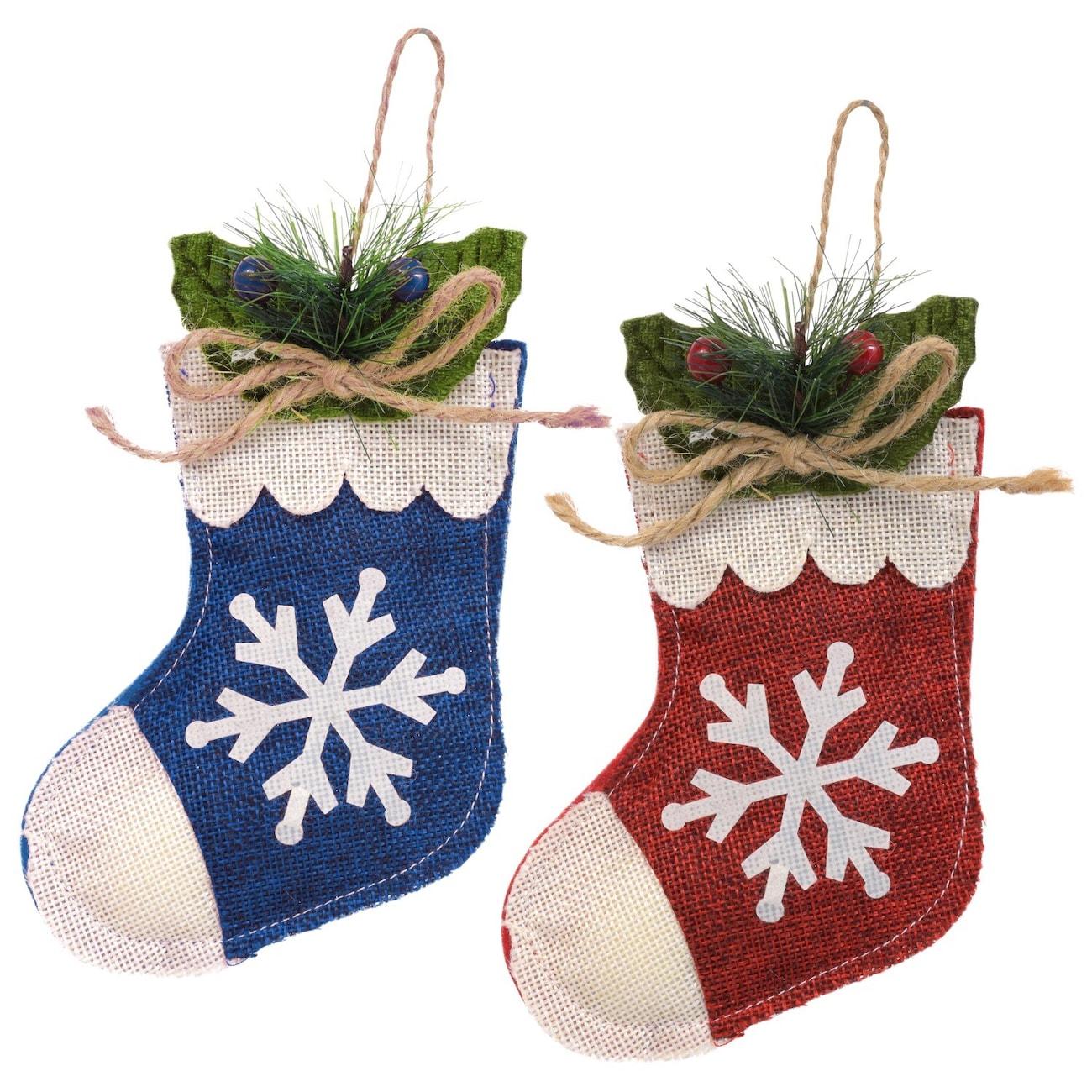 christmas house burlap stocking ornaments - Blue Christmas Stocking
