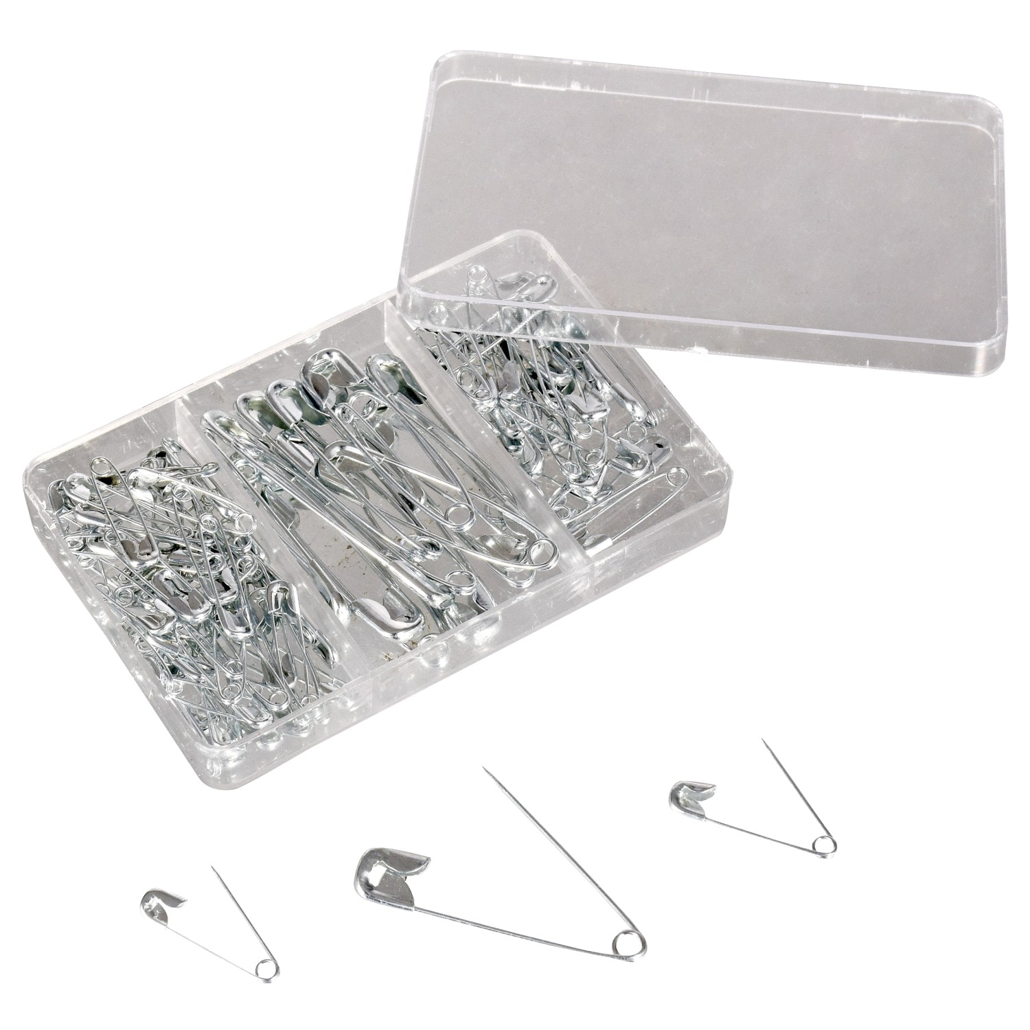 Silver Colour Mixed Size Safety Pins Quantity 100