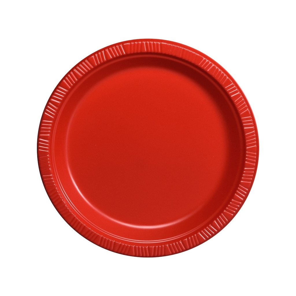 Red Plastic 7-in. Dessert Plates, 12-ct. Packs