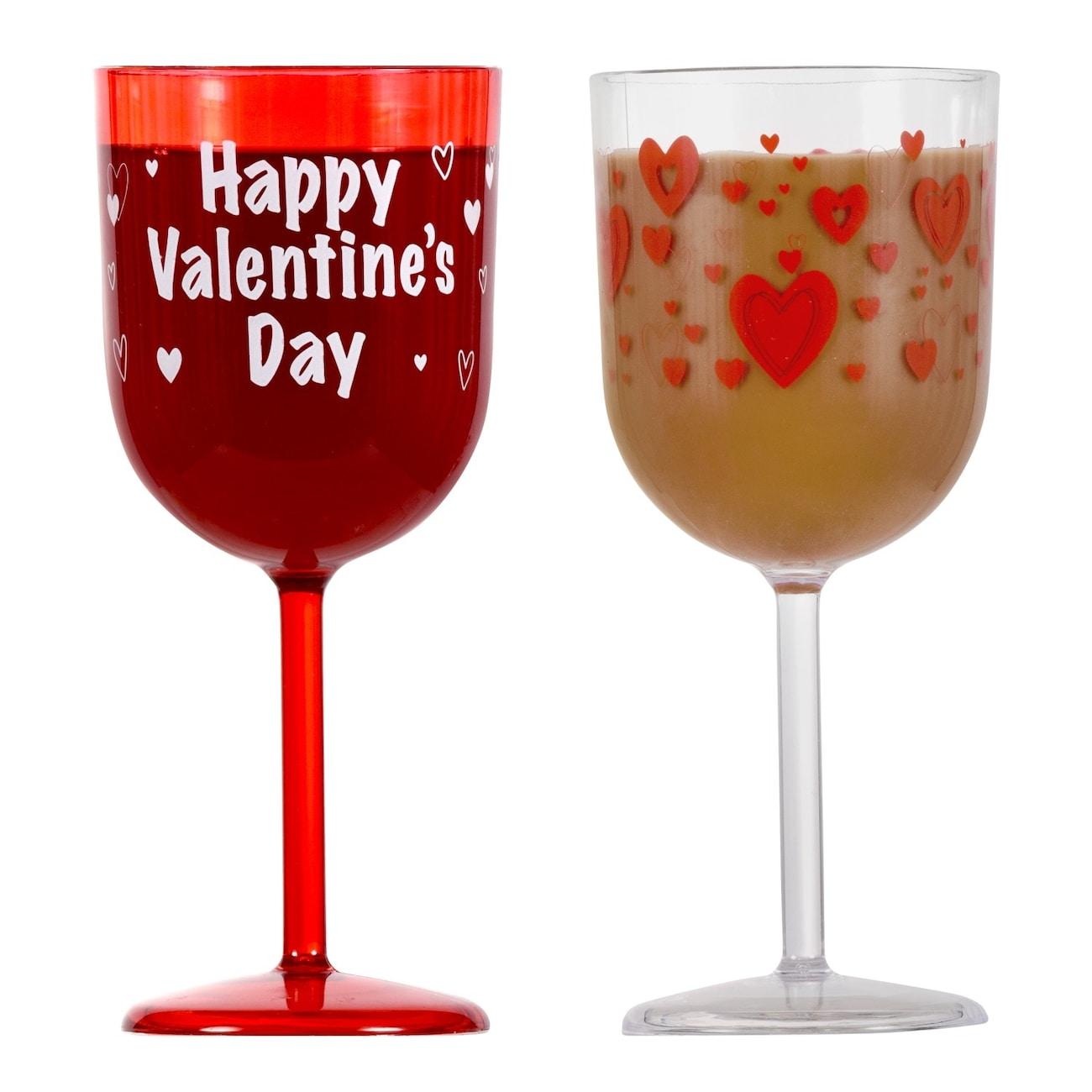 Valentine Plastic Printed Wine Gles