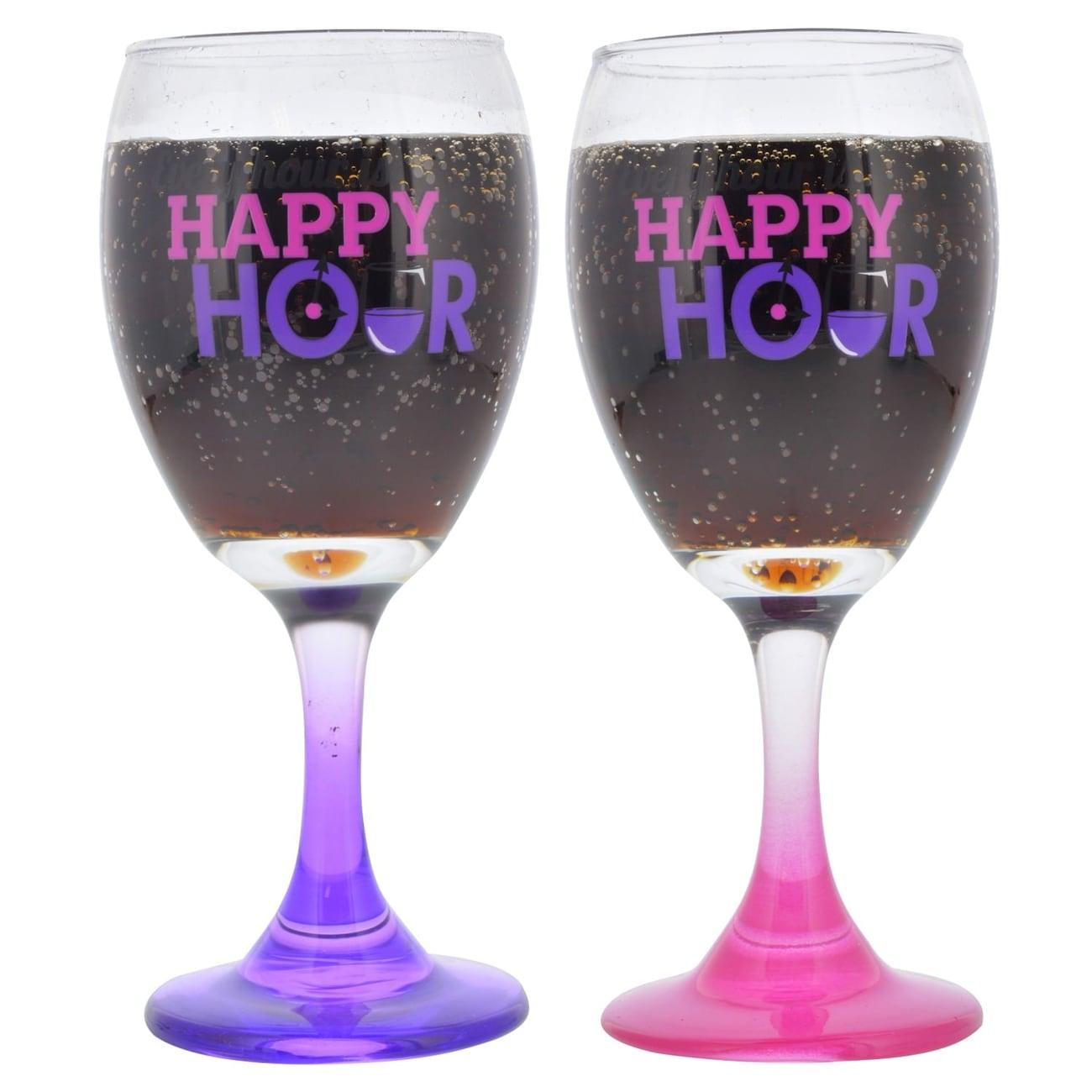 Hy Hour Printed Novelty Wine Gles 10 Oz