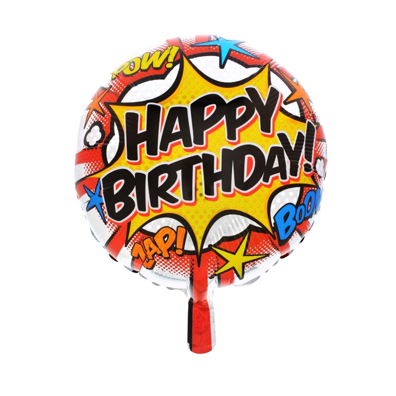 Boom Zap Pow Round Foil Happy Birthday Balloons 18 In
