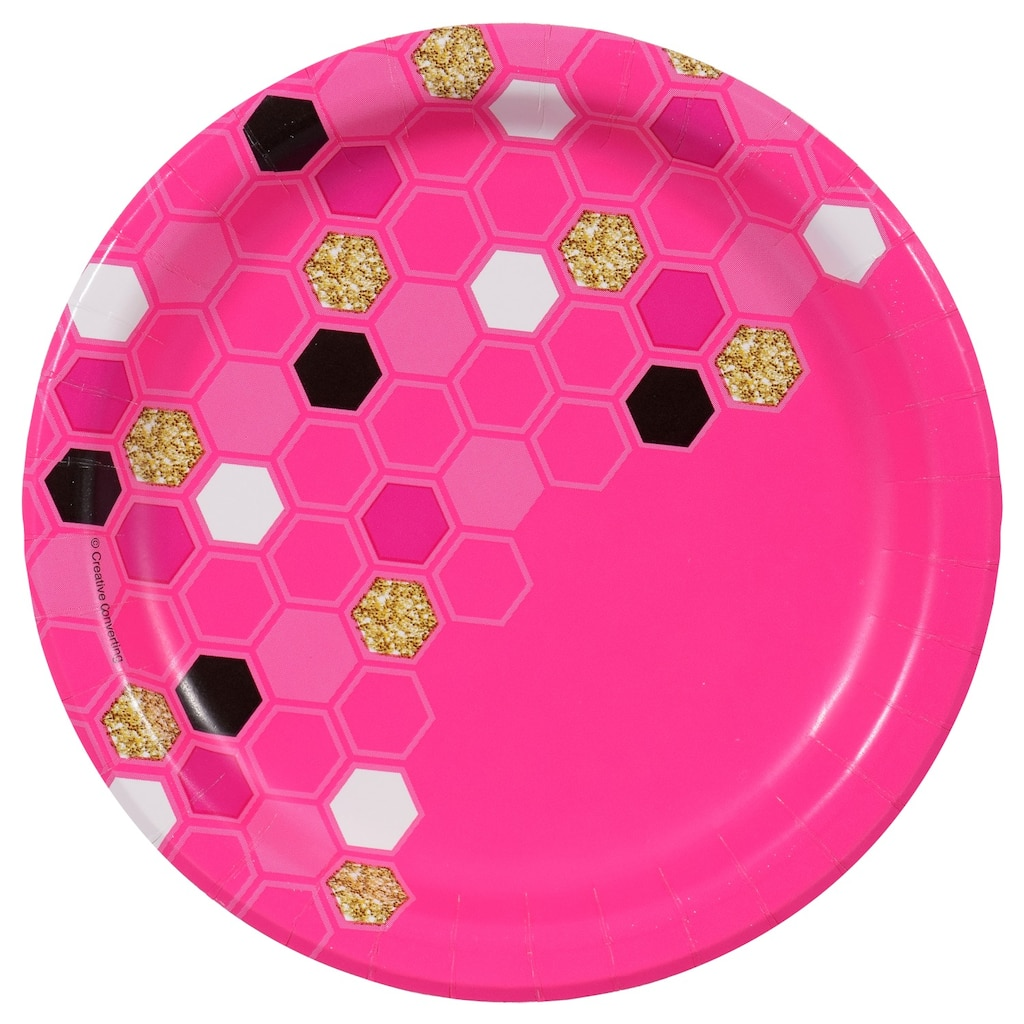 Pink Honeycomb Party Pattern 7-in. Paper Plates, 20-ct. Paquetes