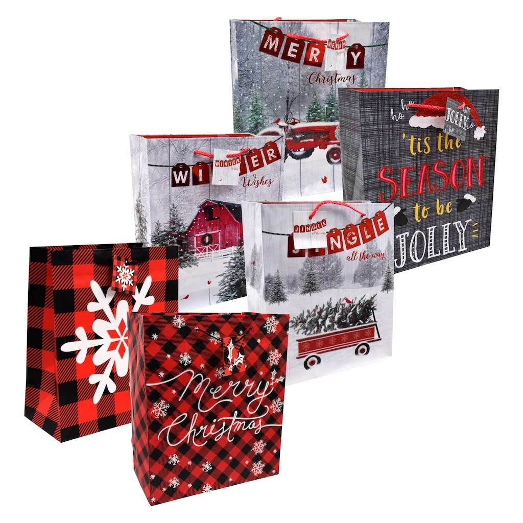 voila large christmas scene gift bags 10x12 in