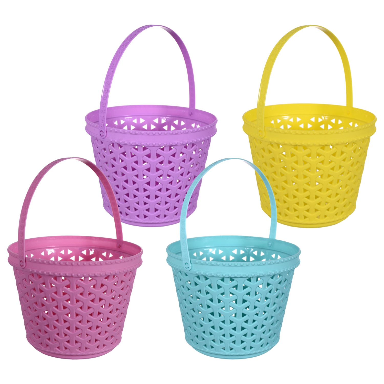 Bright Round Woven Plastic Easter Baskets