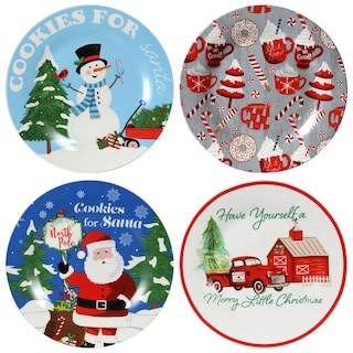 259149-Ceramic Printed Christmas Cookie Plates, 8 in.
