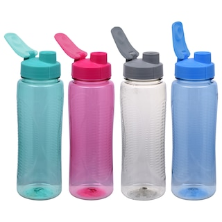 c422bc9ba92f Colorful Plastic Water Bottles with Flip-Top Lids, 24 oz.