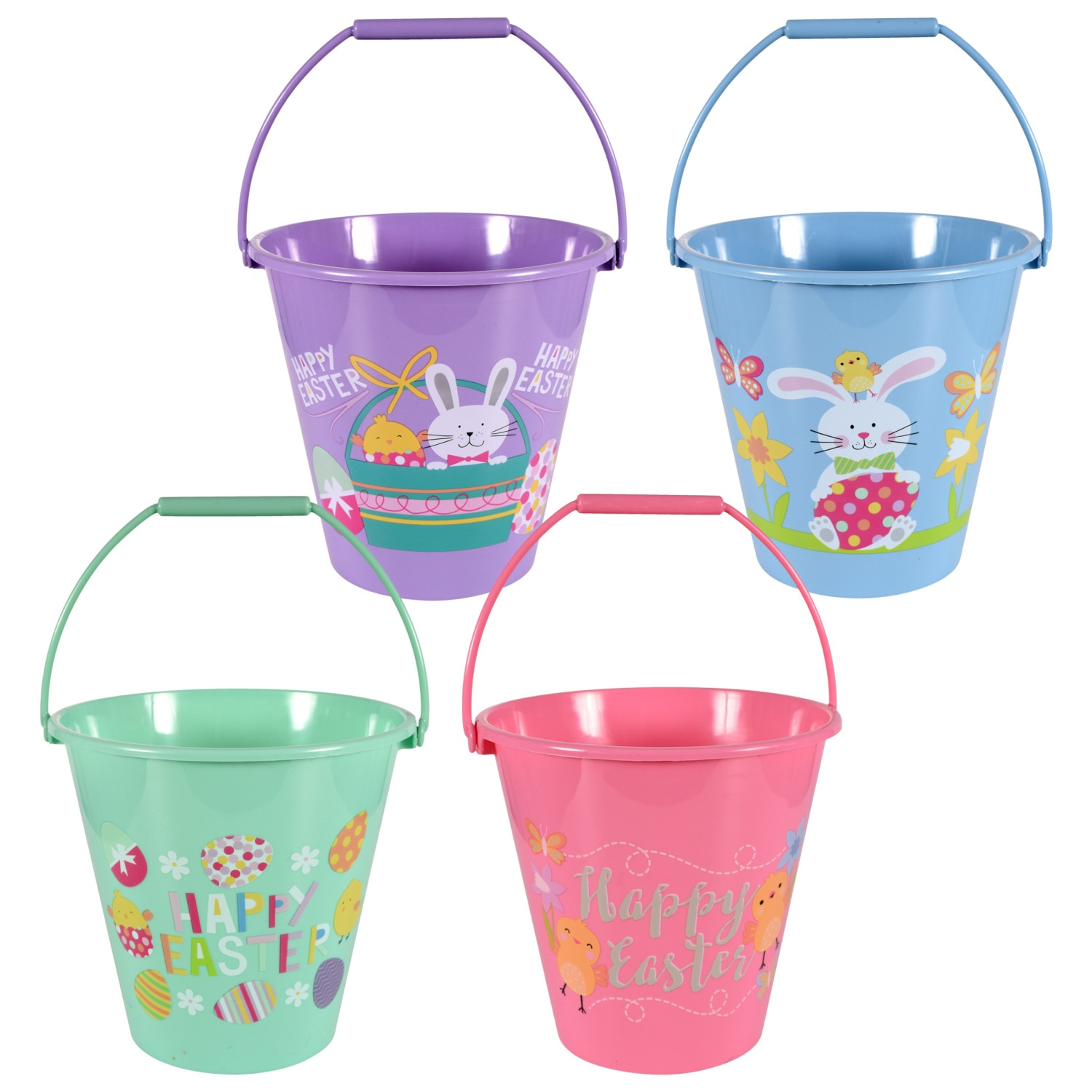 Plastic Printed Easter Pails, 7.25 in.