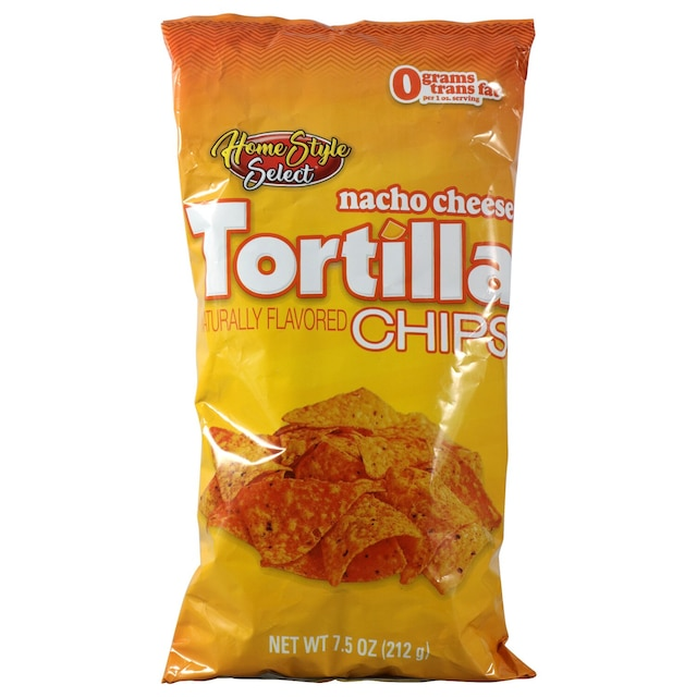 home style select nacho cheese tortilla chips 75 oz bags