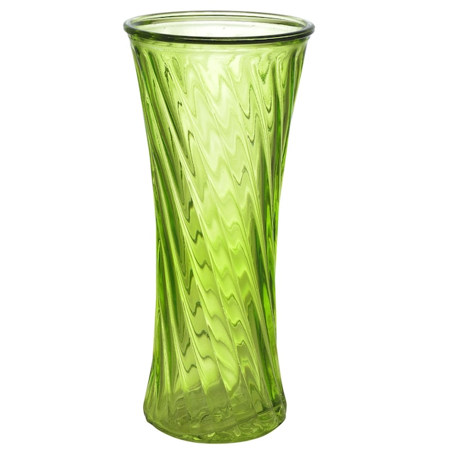 Dollartree Green Twisted Ribbed Trumpet Glass Vases 75 In