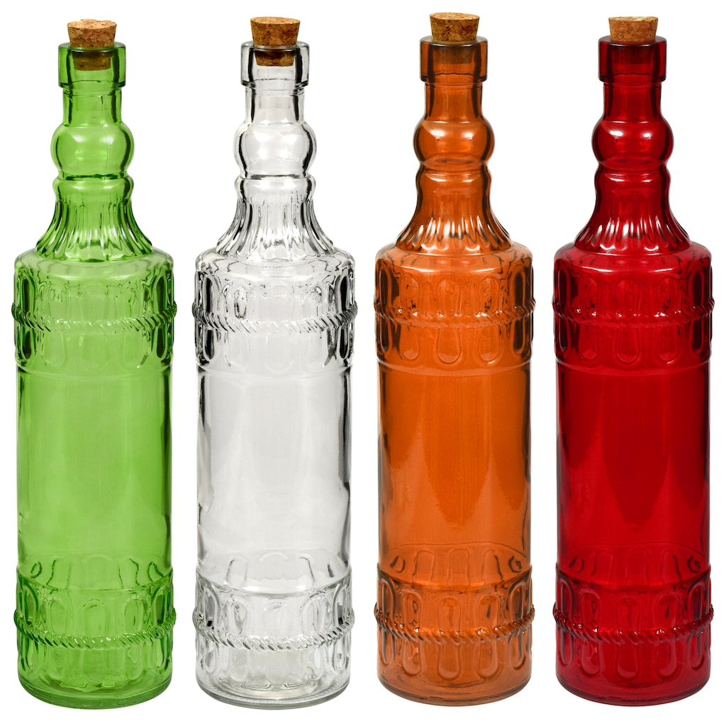 Colorful Vintage Glass Bottles with Cork Tops