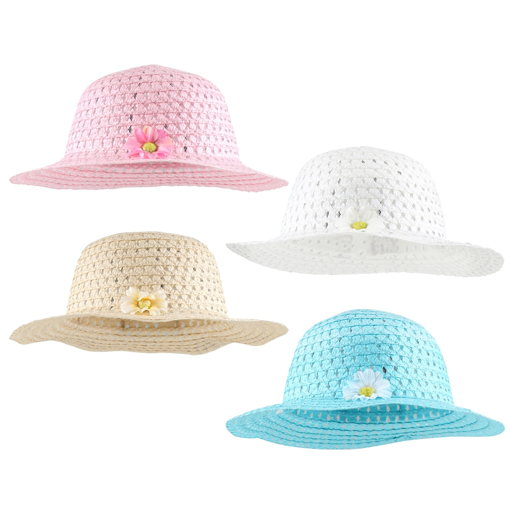 680f7c61e5b Girls  Straw Paper Sun Hats with Flowers