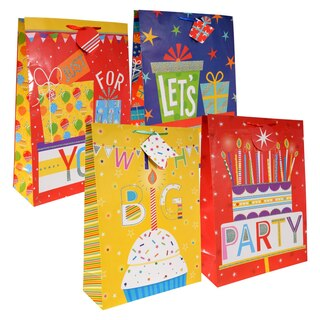 b14ffc020d8c Voila Extra Large Colorful Gift Bags with Tags
