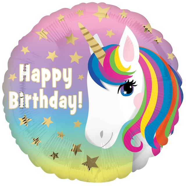 View Unicorn Printed Pink Foil Birthday