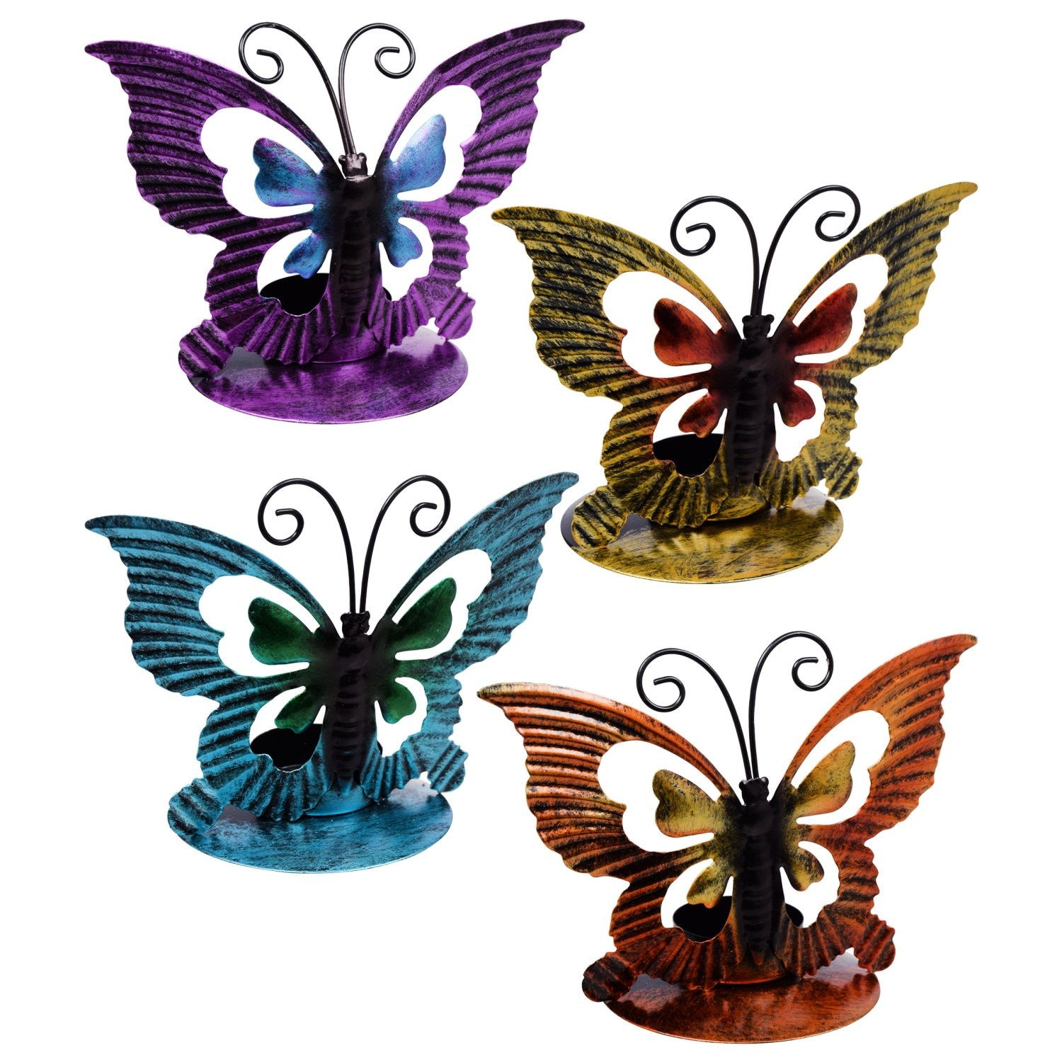 Luminessence Butterfly-Shaped Metal Tealight Candleholders