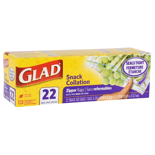 Glad Snack Size Zipper Storage Bags 22 Ct Bo