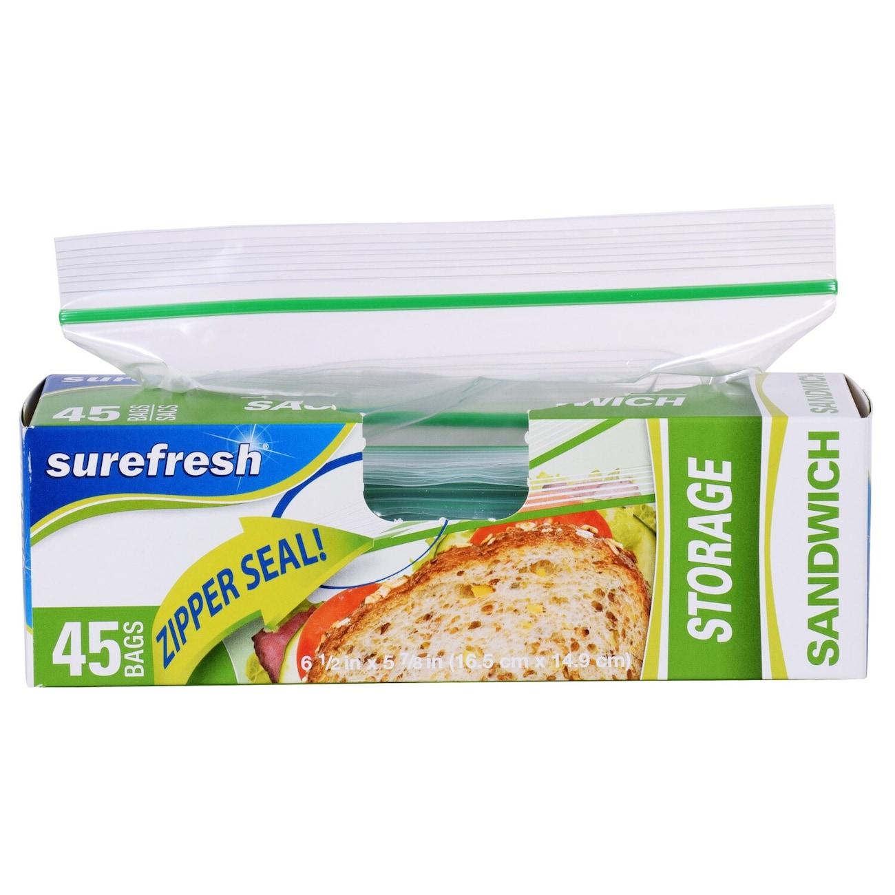 Ziploc bags dollar tree inc sure fresh zipper sandwich bags 50 ct boxes reheart Images