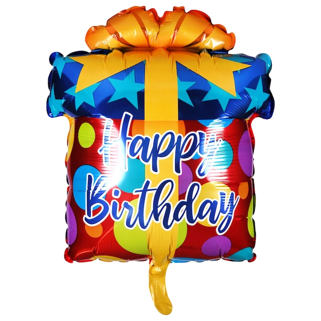 Happy Birthday Gift Shaped Foil Balloons With Attached Ribbons 18 In
