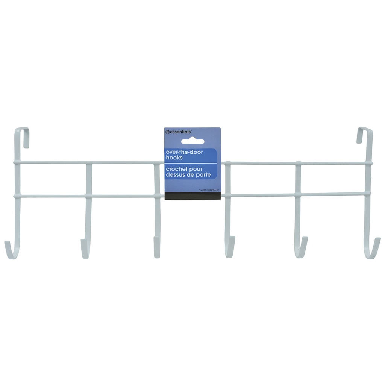 Essentials 6-Hook White Over-the-Door Metal Racks