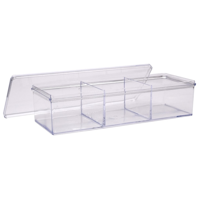 Essentials Clear Plastic 3 Compartment Storage Trays With Lids 8x3x2 In