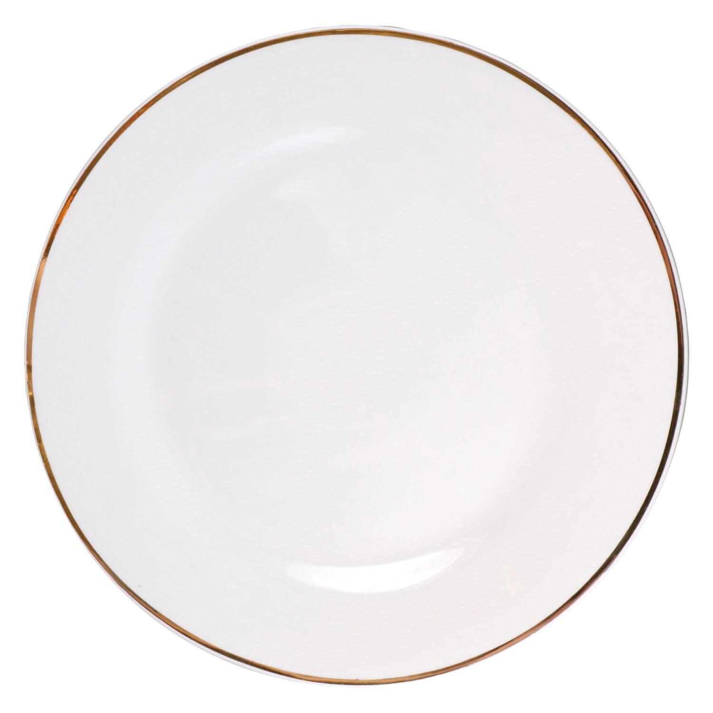 207036-Gold-Rimmed White Stoneware Dinner Plates, 10.5 in.