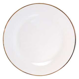207036-Gold-Rimmed White Stoneware Dinner Plates, 10.5 in.