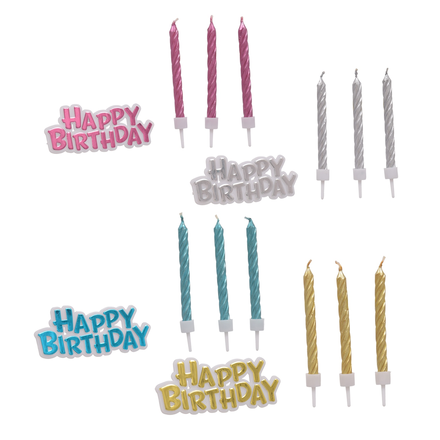 Colorful Metallic Birthday Candles With Cake Decor 16 Pc Sets