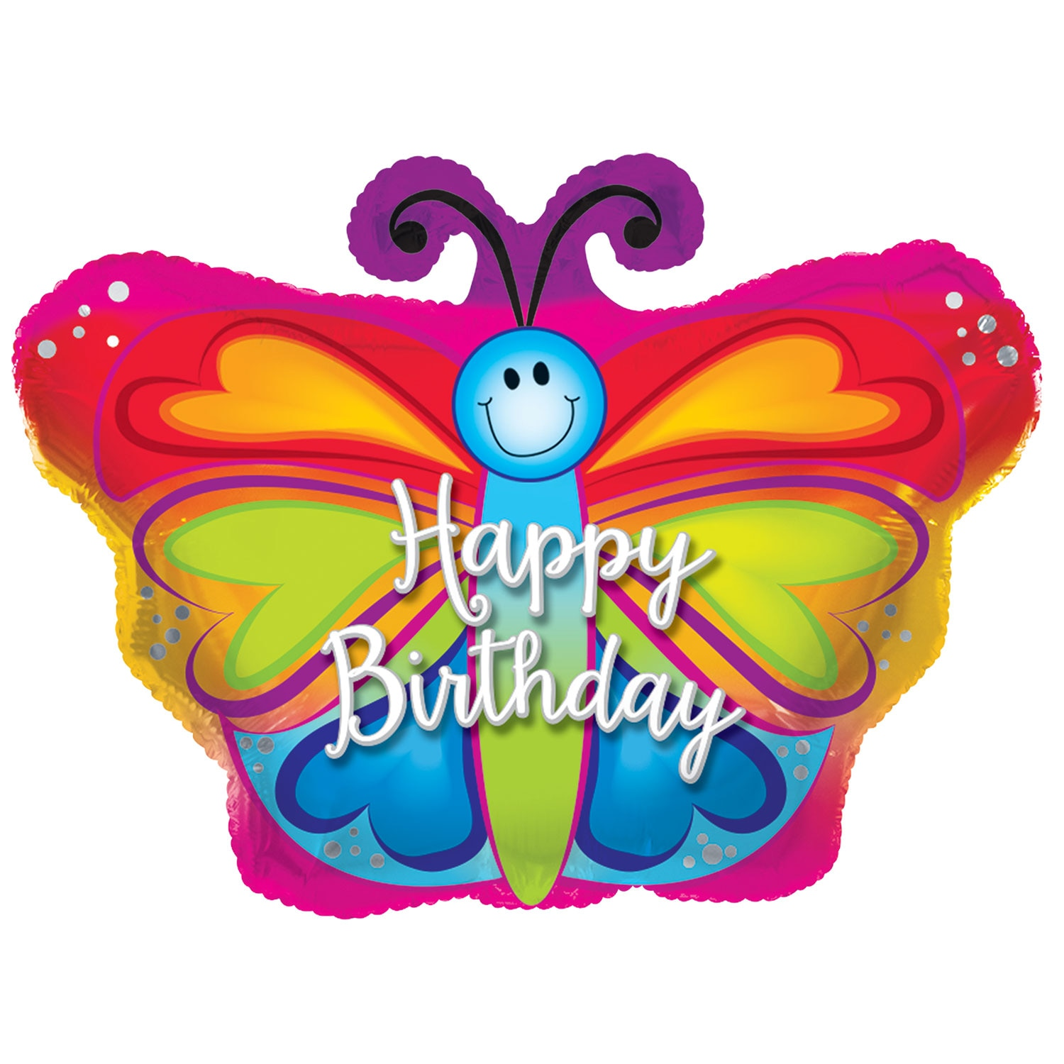 Butterfly Shaped Happy Birthday Foil Balloons 22 In