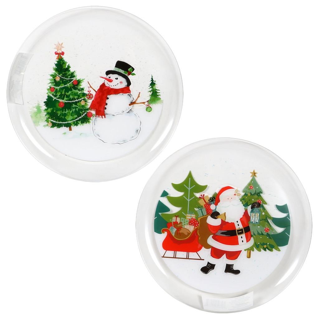 round plastic christmas trays 12 in - Christmas Plates