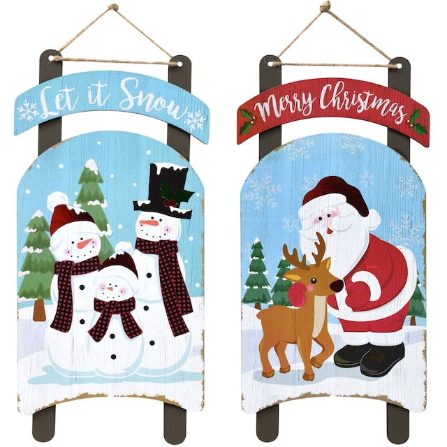 christmas house sled shaped decoration signs