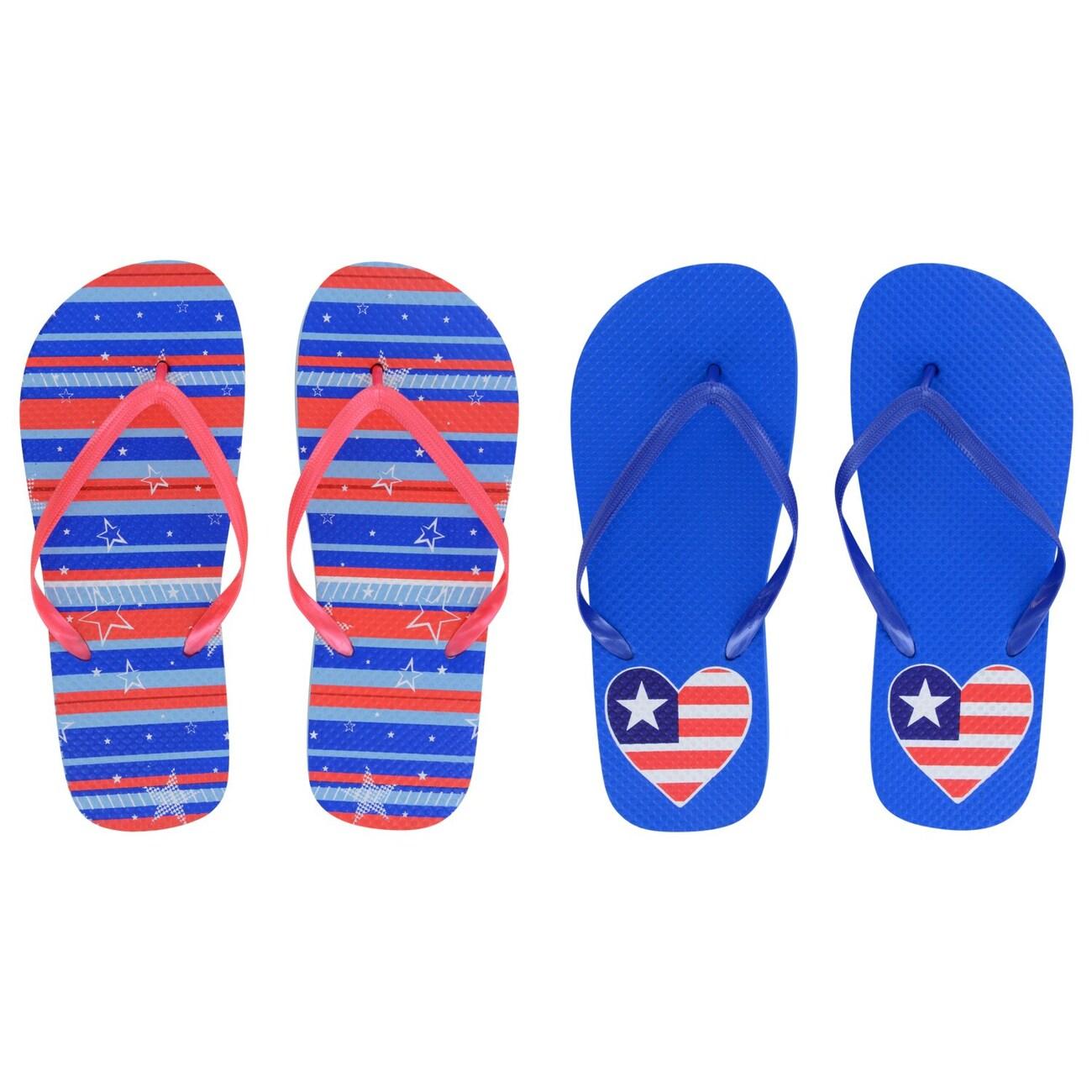 6ac907647 Ladies  Patriotic Rubber Flip Flops