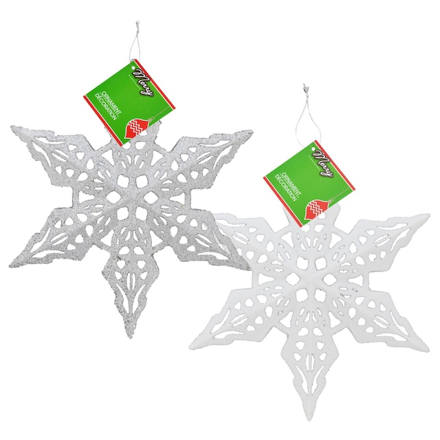 christmas house large glittery plastic snowflake ornaments 11 in