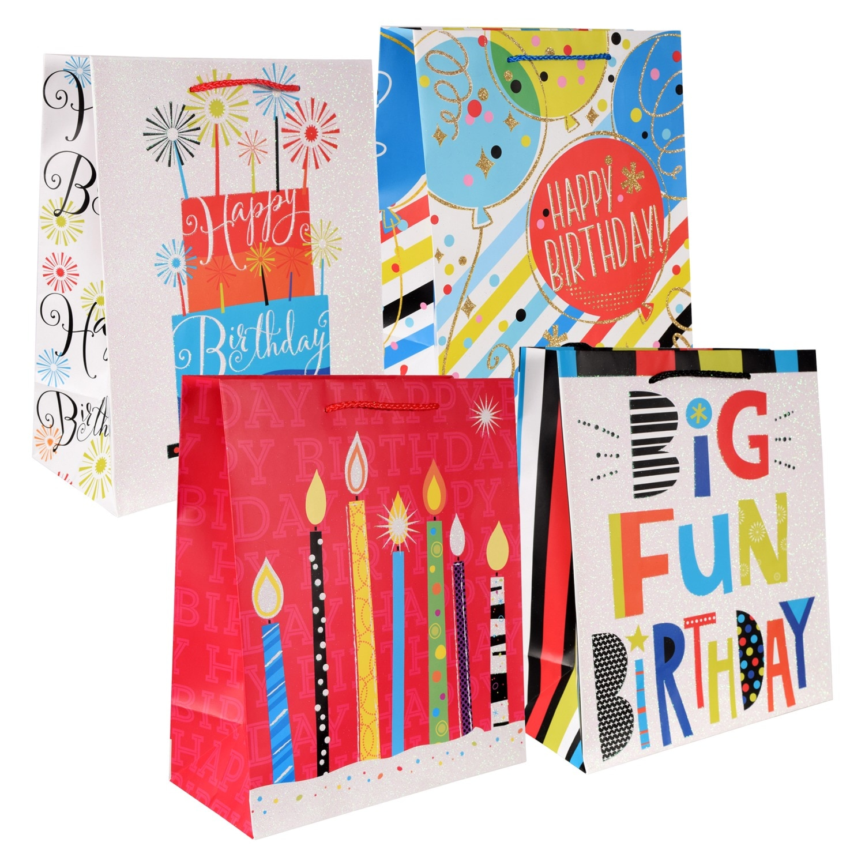 VoilaR Large Big Fun Birthday Gift Bags 12 In