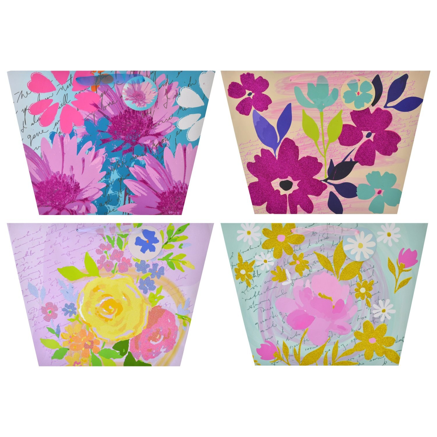 c83f9b8aa31a29 Viola Floral Printed Trapezoid-Shaped Gift Bags