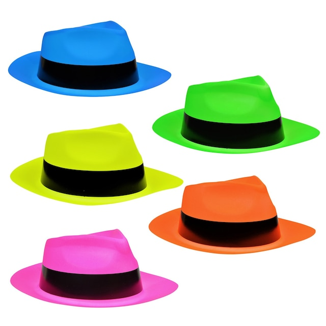 9327bb438bbbd View Neon Plastic Fedora-Shaped Party Hats
