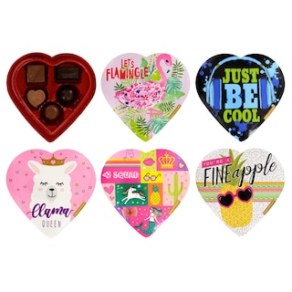 View Colorful Heart-Shaped Boxes of Assorted Chocolates, 2 oz.