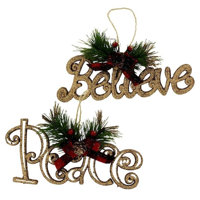 Christmas House Glittery Words Christmas Ornaments