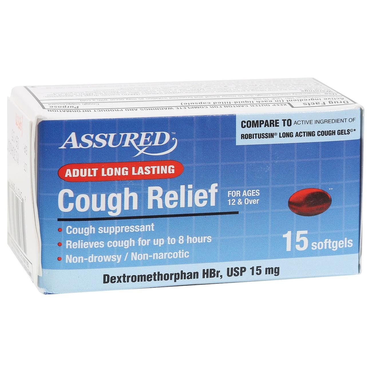 Assured Long Lasting Cough Relief Softgels, 15-ct. Packs
