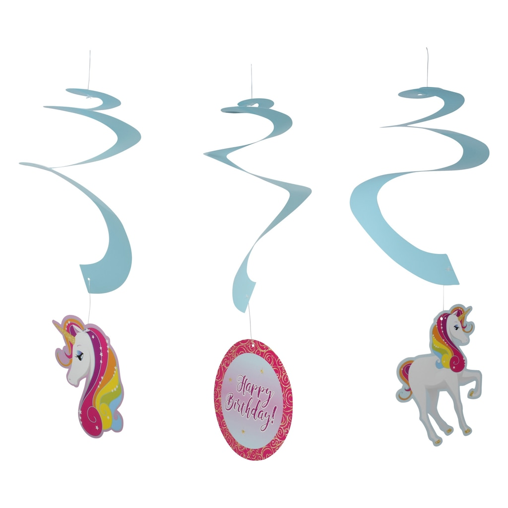 Unicorn Birthday Hanging Swirl Decorations 3 Ct Packs