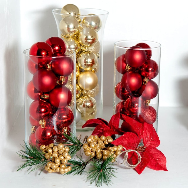 Decorating Idea Ornament Filled Glass Vases Dollar Tree