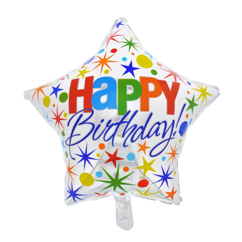 Happy Birthday Star Foil Balloons 18 In