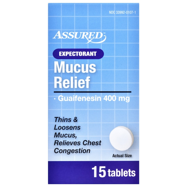 Dollartree Assured Mucus Relief Expectorant Tablets 15 Ct