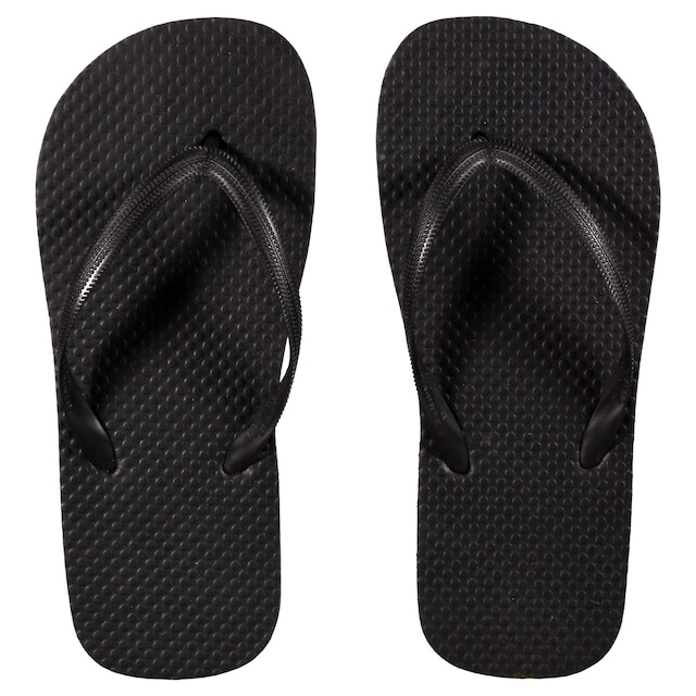 b6649424e Ladies  Solid-Color Black Rubber Flip-Flops